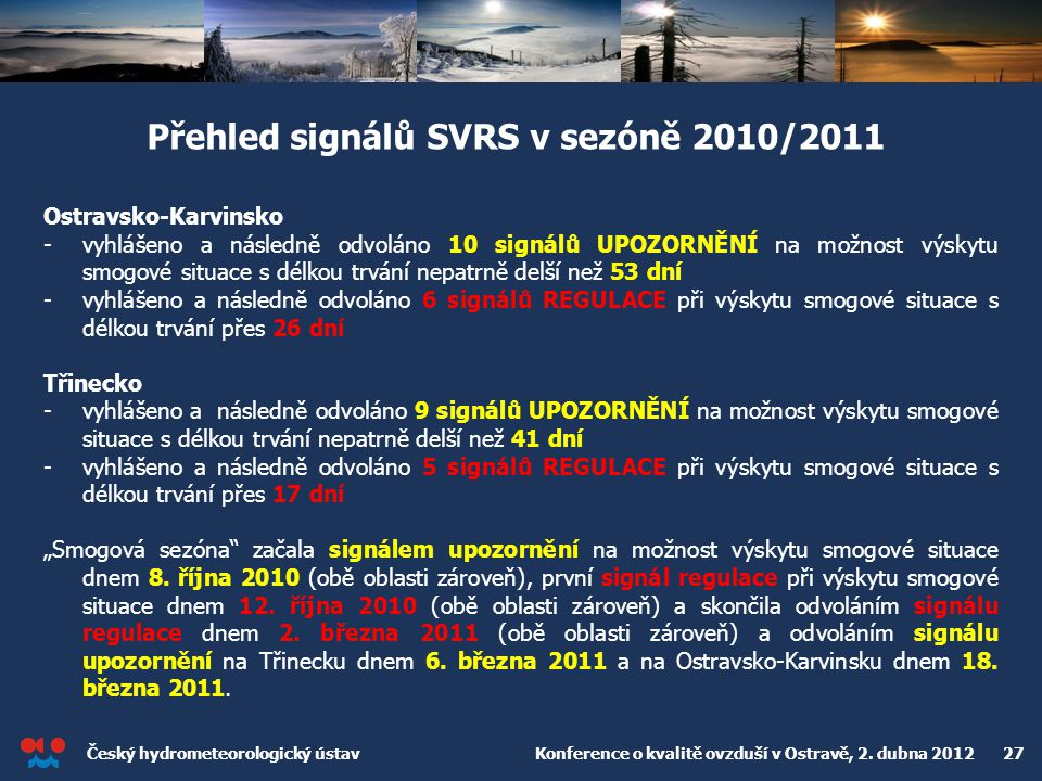 Přehled signálů SVRS v sezóně 2010/2011