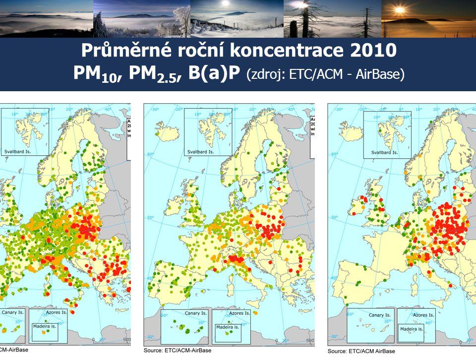 Průměrné roční koncentrace 2010 PM10, PM2