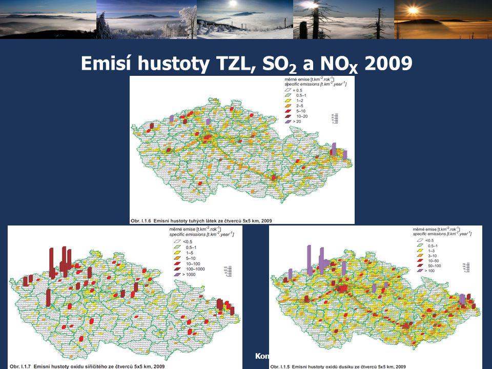 Emisí hustoty TZL, SO2 a NOX 2009