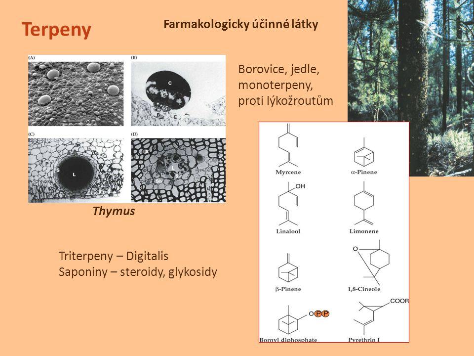 Terpeny Farmakologicky účinné látky Borovice, jedle, monoterpeny,
