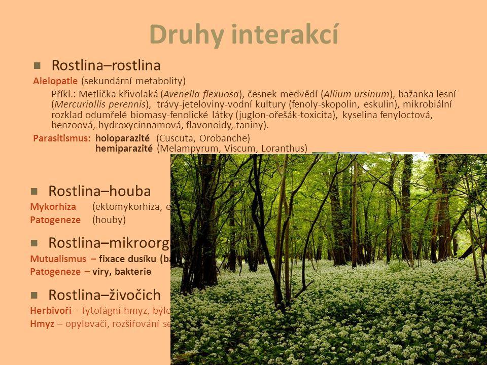 Druhy interakcí Rostlina–rostlina Rostlina–houba