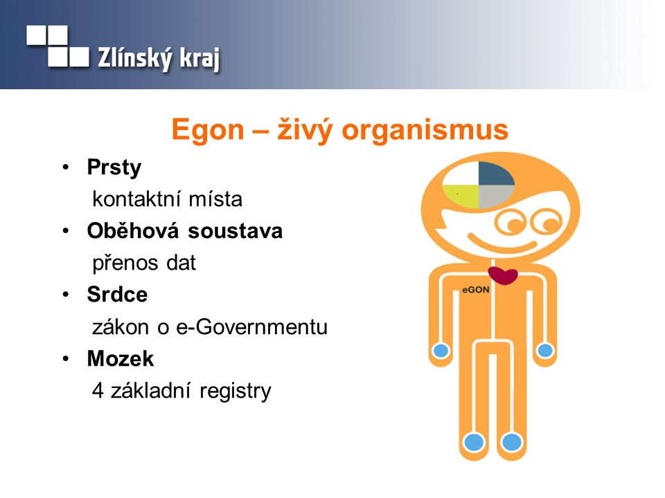 Egon – živý organismus Prsty kontaktní místa Oběhová soustava
