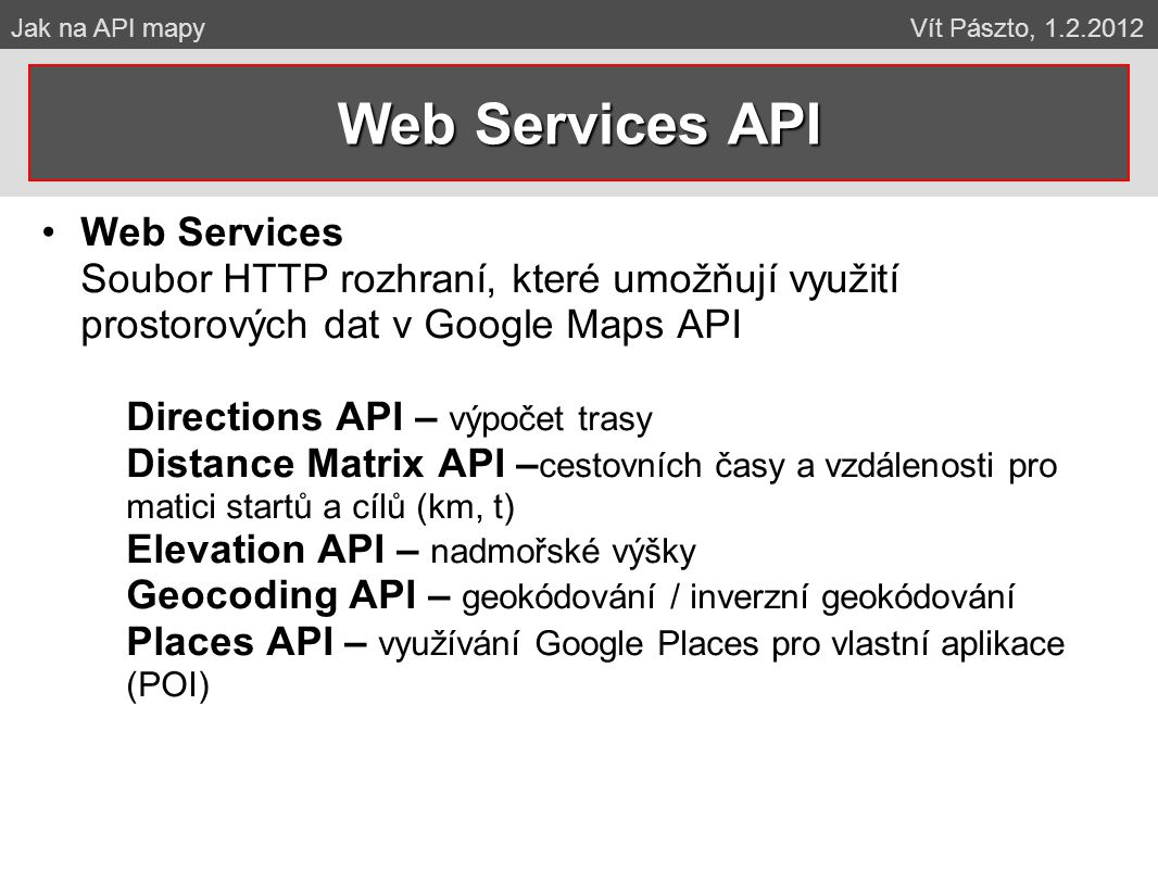 Web Services API Web Services