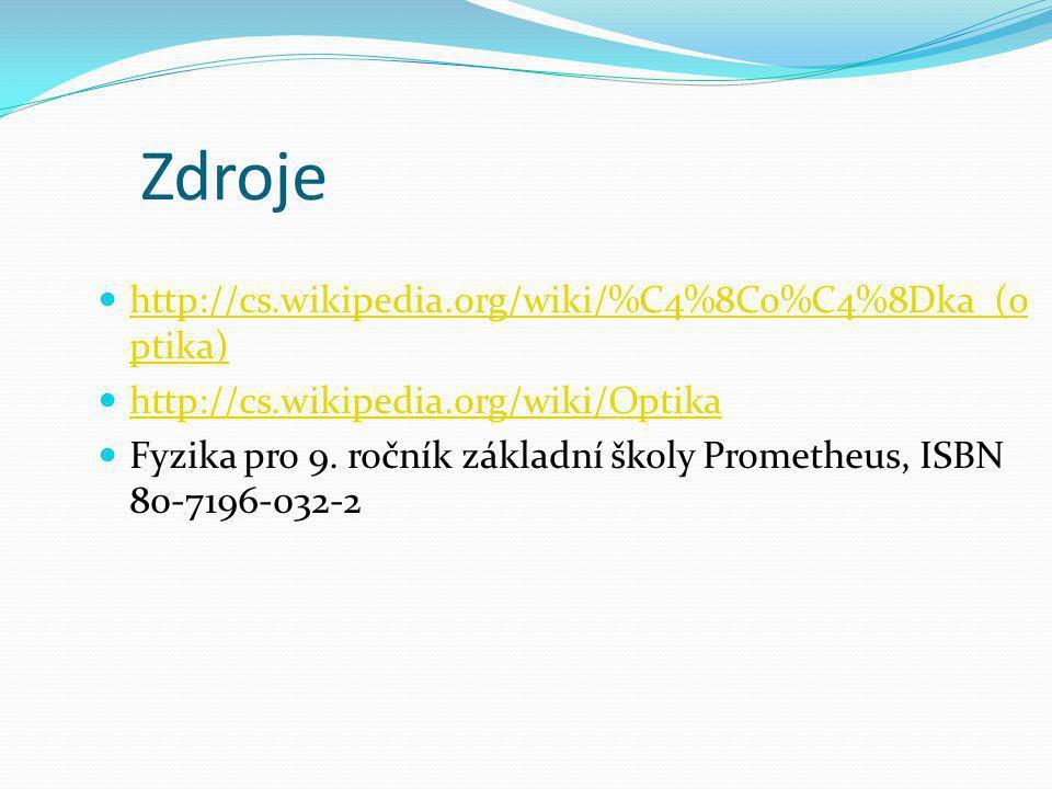 Zdroje http://cs.wikipedia.org/wiki/%C4%8Co%C4%8Dka_(optika)