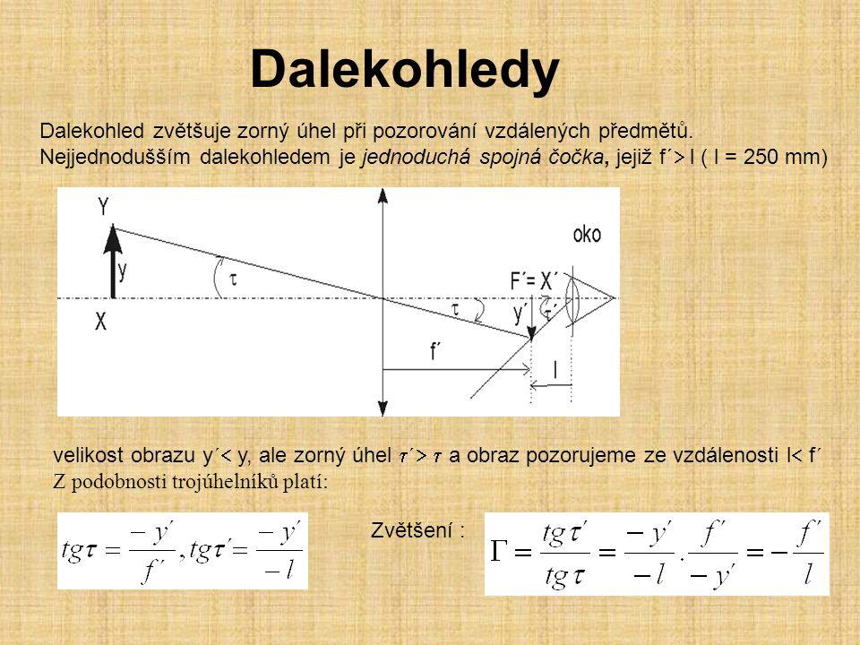 Dalekohledy Dalekohled zvětšuje zorný úhel při pozorování vzdálených předmětů.