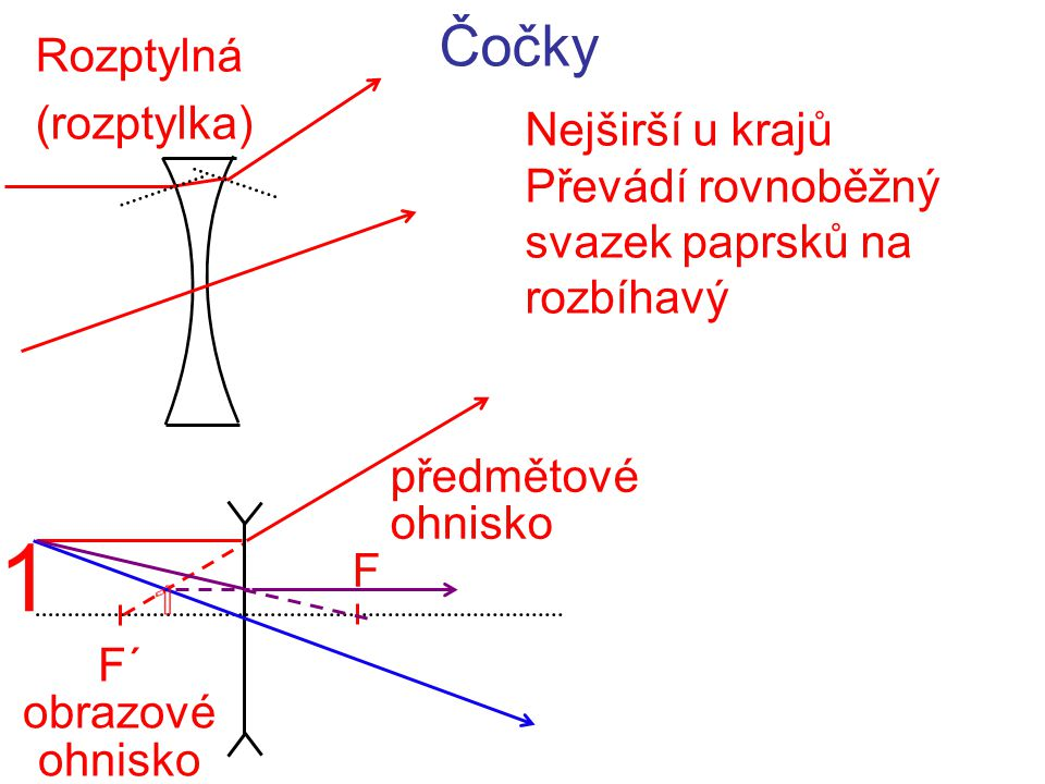 Čočky Rozptylná (rozptylka) Nejširší u krajů Převádí rovnoběžný