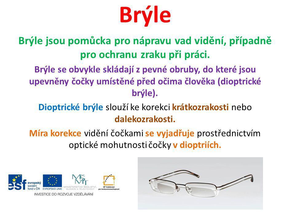 Dioptrické brýle slouží ke korekci krátkozrakosti nebo dalekozrakosti.