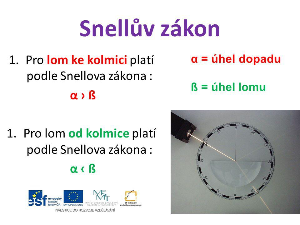 Snellův zákon Pro lom ke kolmici platí podle Snellova zákona : α › ß