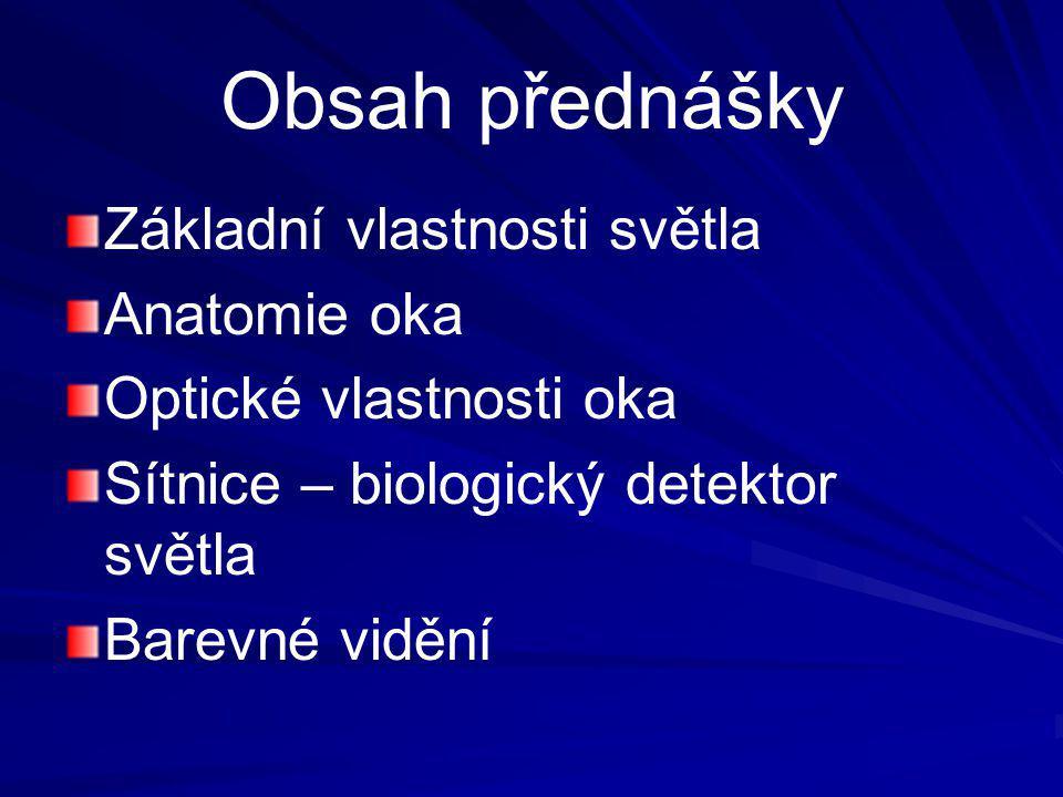 Obsah přednášky Základní vlastnosti světla Anatomie oka