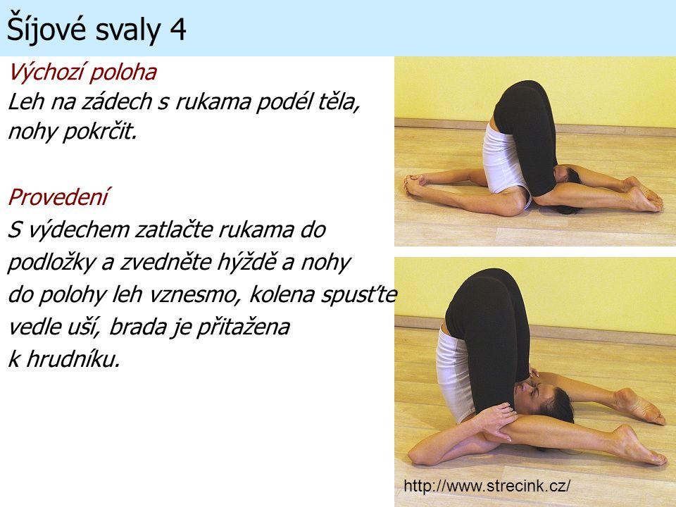 Šíjové svaly 4 Výchozí poloha Leh na zádech s rukama podél těla,