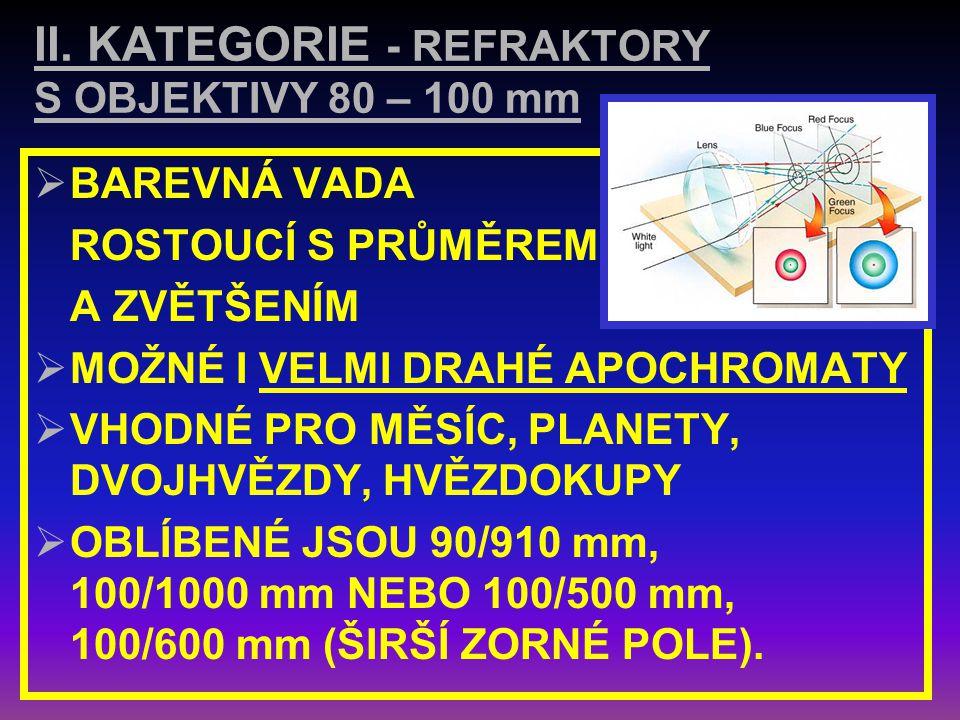 II. KATEGORIE - REFRAKTORY S OBJEKTIVY 80 – 100 mm
