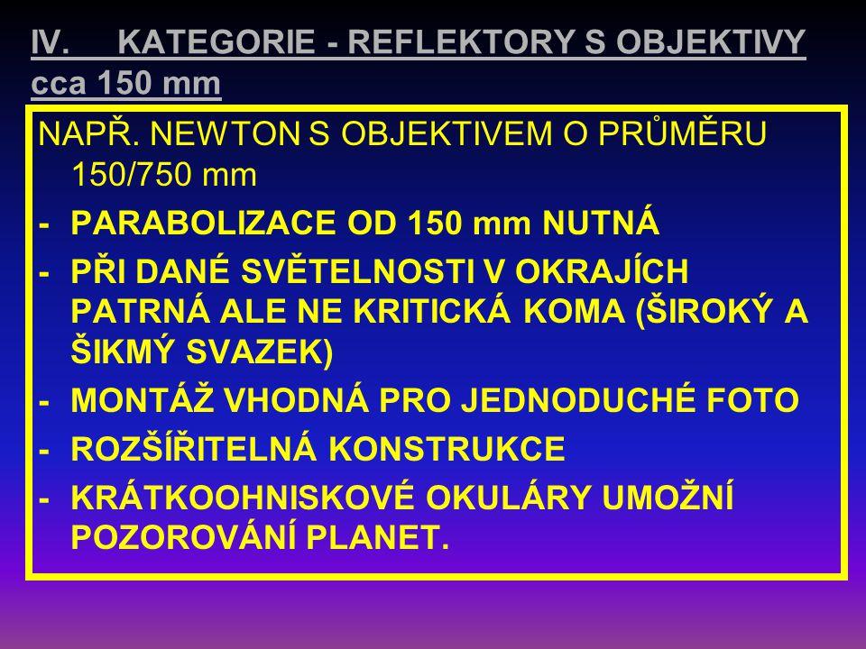 IV. KATEGORIE - REFLEKTORY S OBJEKTIVY cca 150 mm