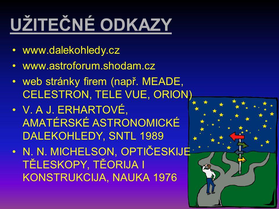 UŽITEČNÉ ODKAZY www.dalekohledy.cz www.astroforum.shodam.cz