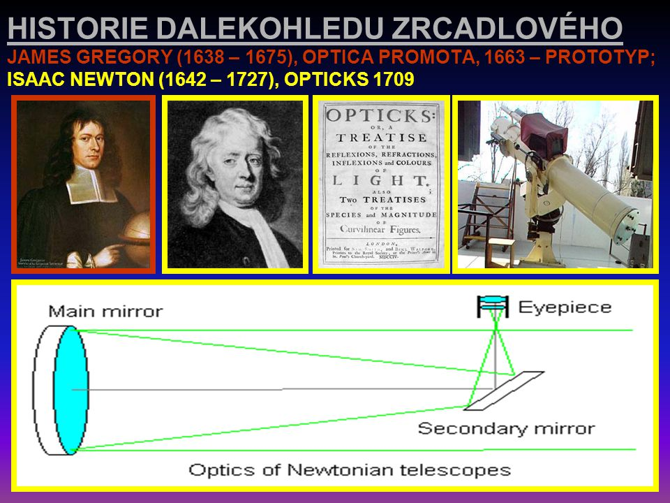 HISTORIE DALEKOHLEDU ZRCADLOVÉHO JAMES GREGORY (1638 – 1675), OPTICA PROMOTA, 1663 – PROTOTYP; ISAAC NEWTON (1642 – 1727), OPTICKS 1709