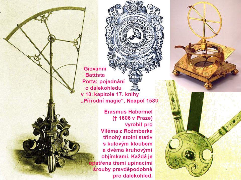 """Giovanni Battista. Porta: pojednání. o dalekohledu. v 10. kapitole 17. knihy. """"Přírodní magie , Neapol 1589."""