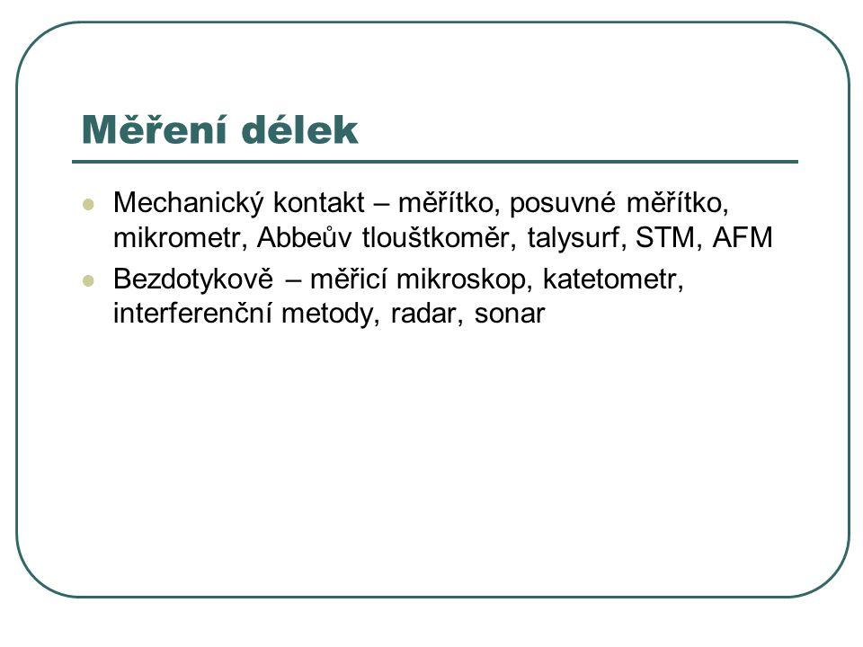 Měření délek Mechanický kontakt – měřítko, posuvné měřítko, mikrometr, Abbeův tlouštkoměr, talysurf, STM, AFM.