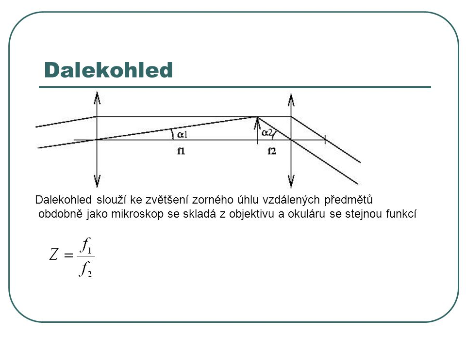 Dalekohled Dalekohled slouží ke zvětšení zorného úhlu vzdálených předmětů.