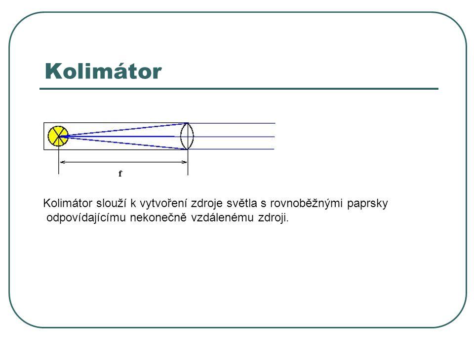 Kolimátor Kolimátor slouží k vytvoření zdroje světla s rovnoběžnými paprsky.