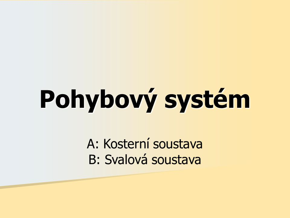 Pohybový systém A: Kosterní soustava B: Svalová soustava