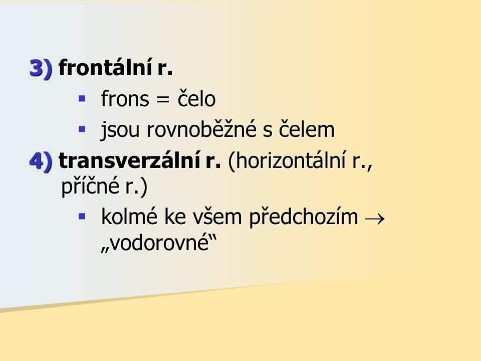3) frontální r. frons = čelo. jsou rovnoběžné s čelem. 4) transverzální r. (horizontální r., příčné r.)