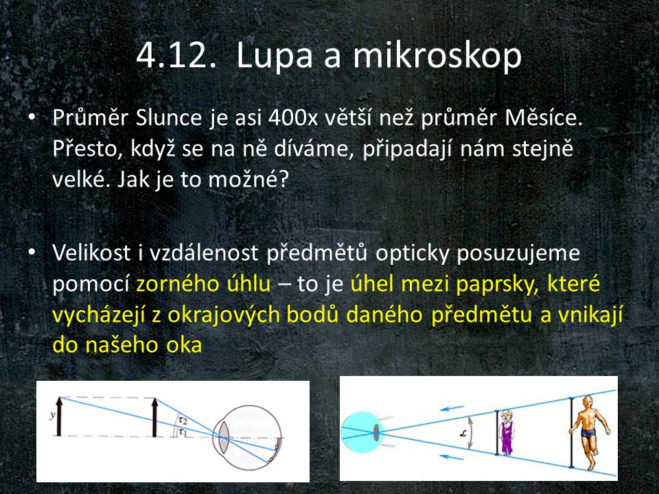 4.12. Lupa a mikroskop Průměr Slunce je asi 400x větší než průměr Měsíce. Přesto, když se na ně díváme, připadají nám stejně velké. Jak je to možné
