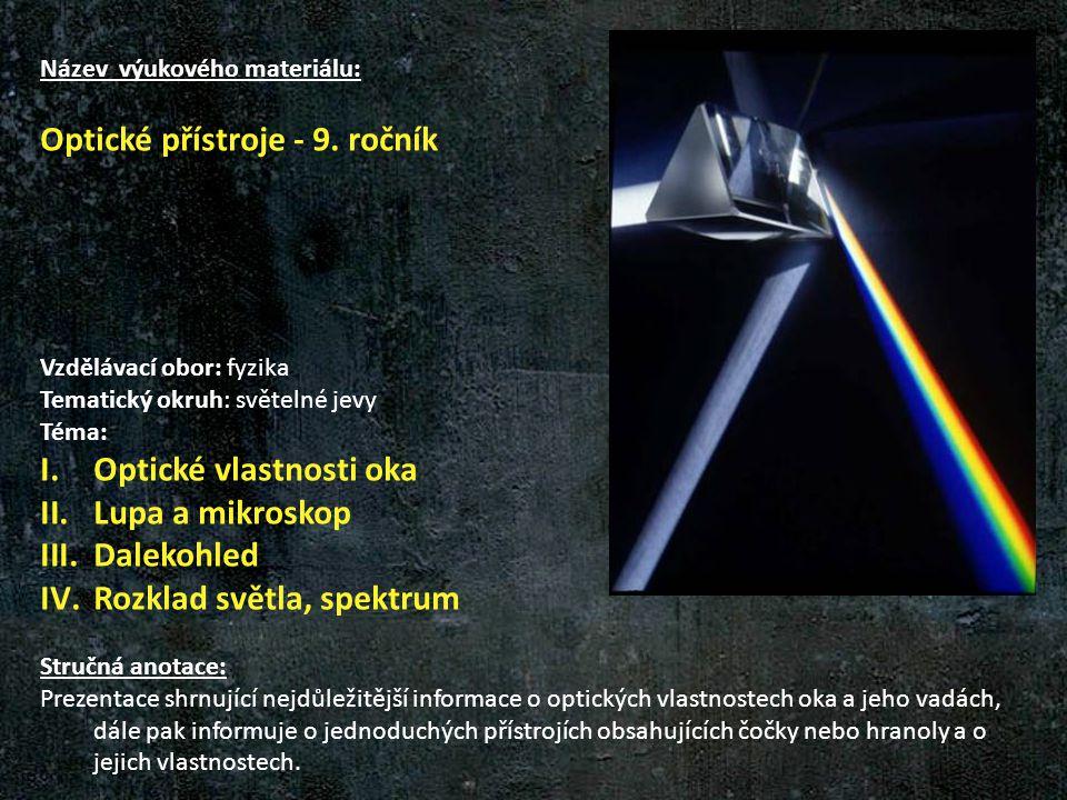 Optické přístroje - 9. ročník