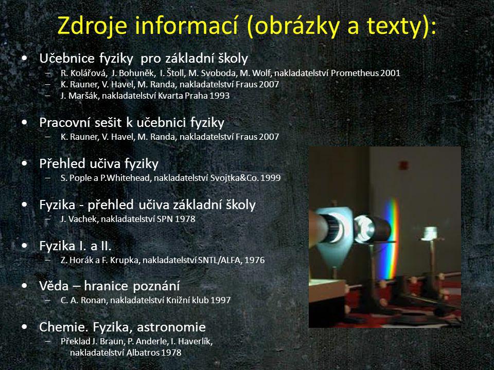 Zdroje informací (obrázky a texty):