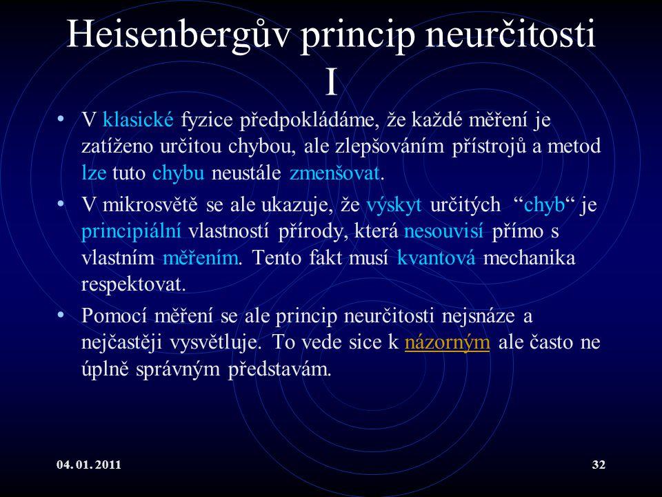 Heisenbergův princip neurčitosti I
