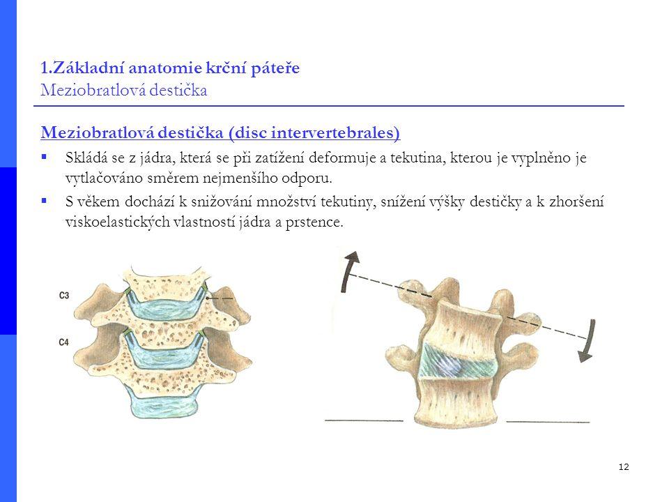 1.Základní anatomie krční páteře Meziobratlová destička