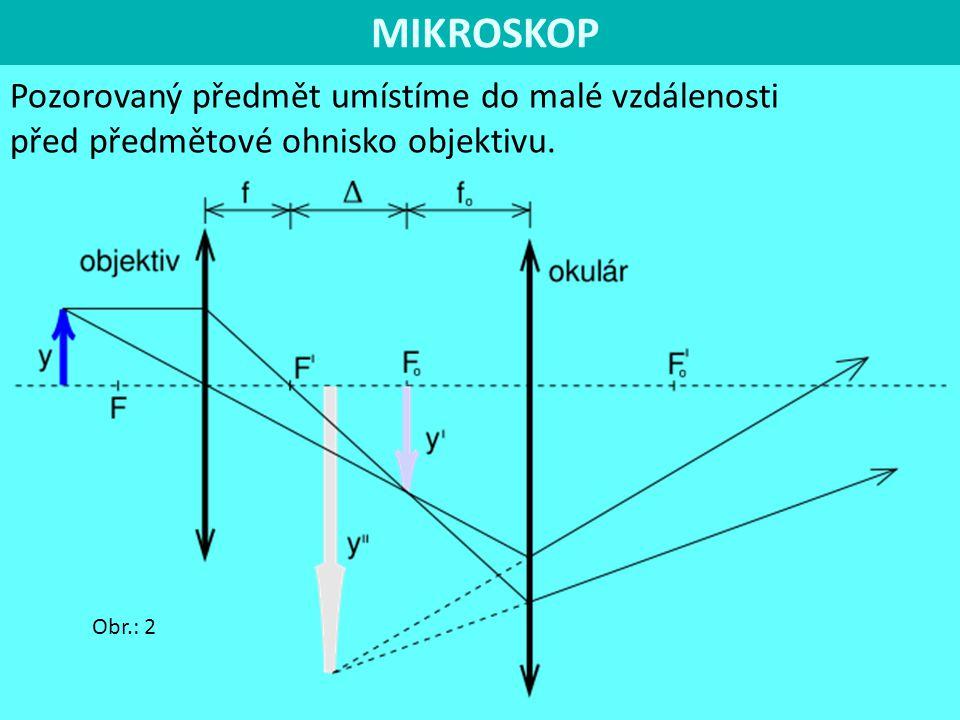 MIKROSKOP Pozorovaný předmět umístíme do malé vzdálenosti před předmětové ohnisko objektivu.