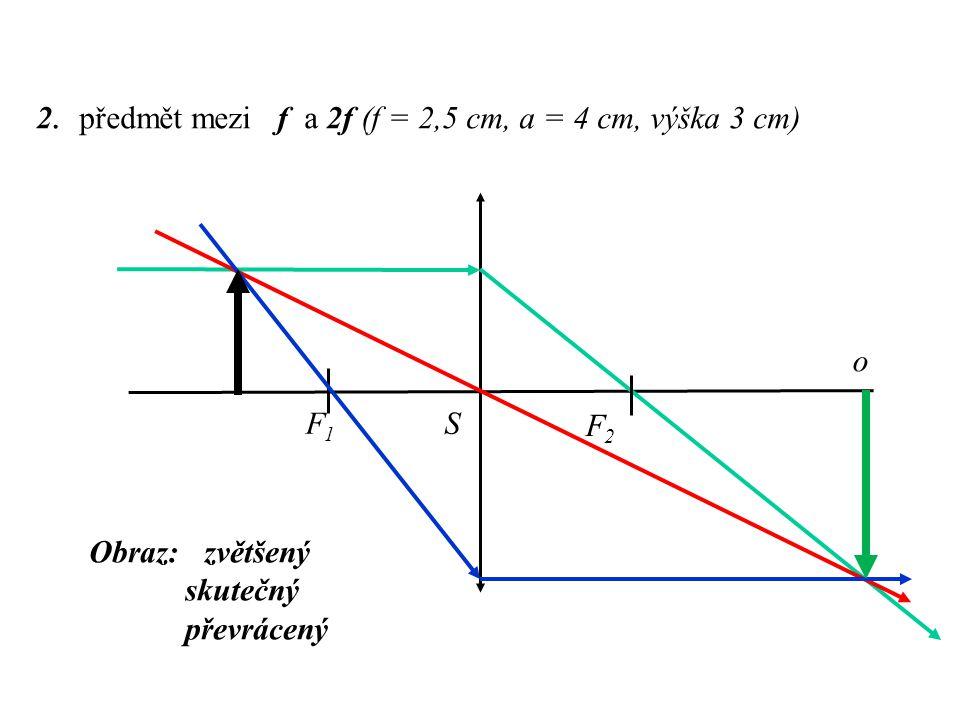 2. předmět mezi f a 2f (f = 2,5 cm, a = 4 cm, výška 3 cm)