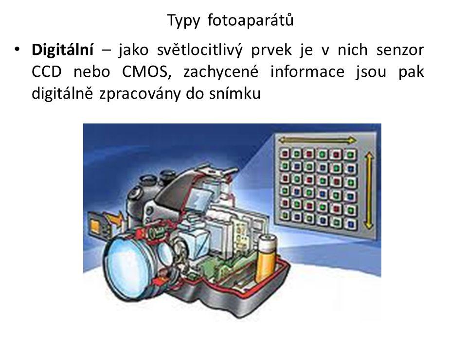 Typy fotoaparátů Digitální – jako světlocitlivý prvek je v nich senzor CCD nebo CMOS, zachycené informace jsou pak digitálně zpracovány do snímku.