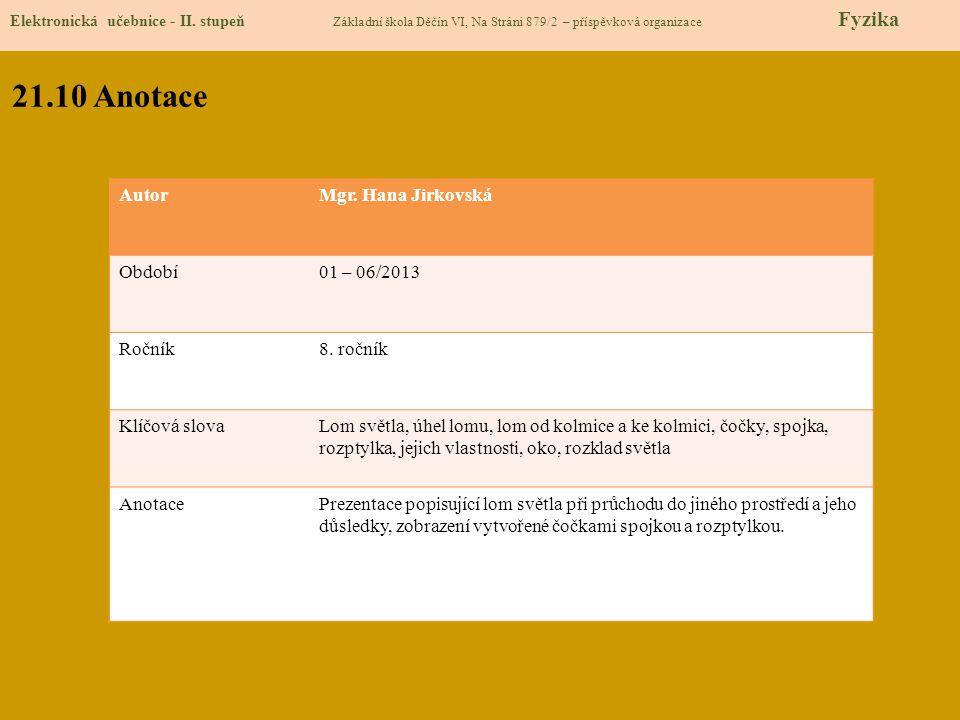 21.10 Anotace Autor Mgr. Hana Jirkovská Období 01 – 06/2013 Ročník