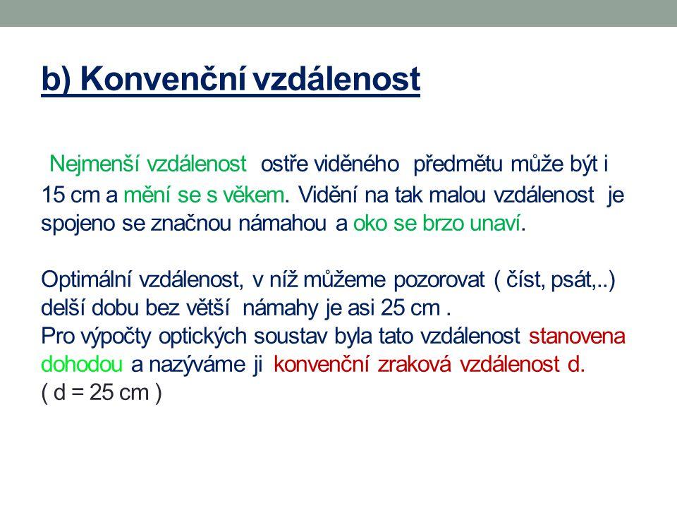 b) Konvenční vzdálenost Nejmenší vzdálenost ostře viděného předmětu může být i 15 cm a mění se s věkem.