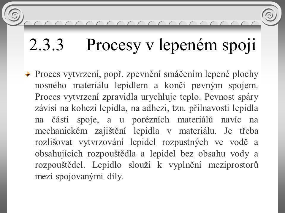 2.3.3 Procesy v lepeném spoji