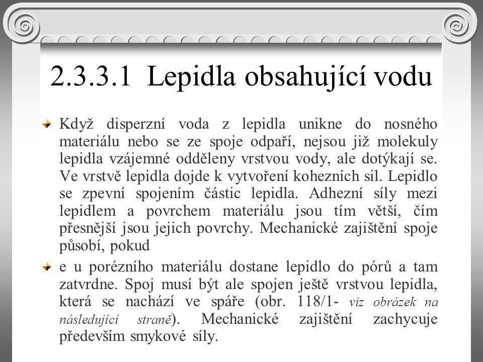 2.3.3.1 Lepidla obsahující vodu