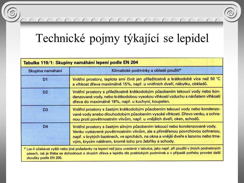Technické pojmy týkající se lepidel