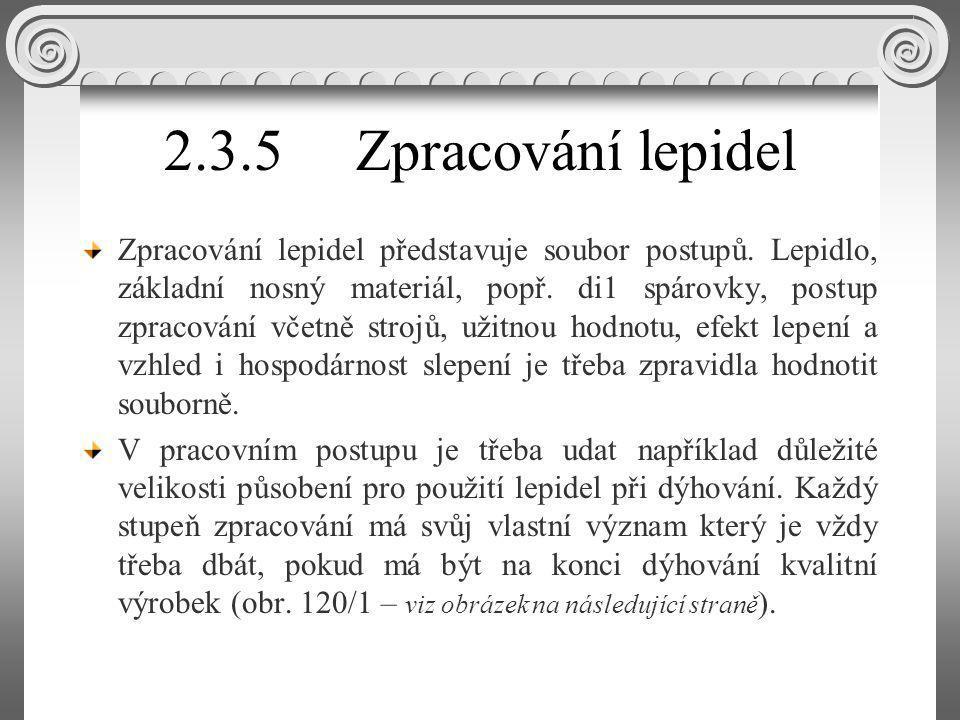 2.3.5 Zpracování lepidel