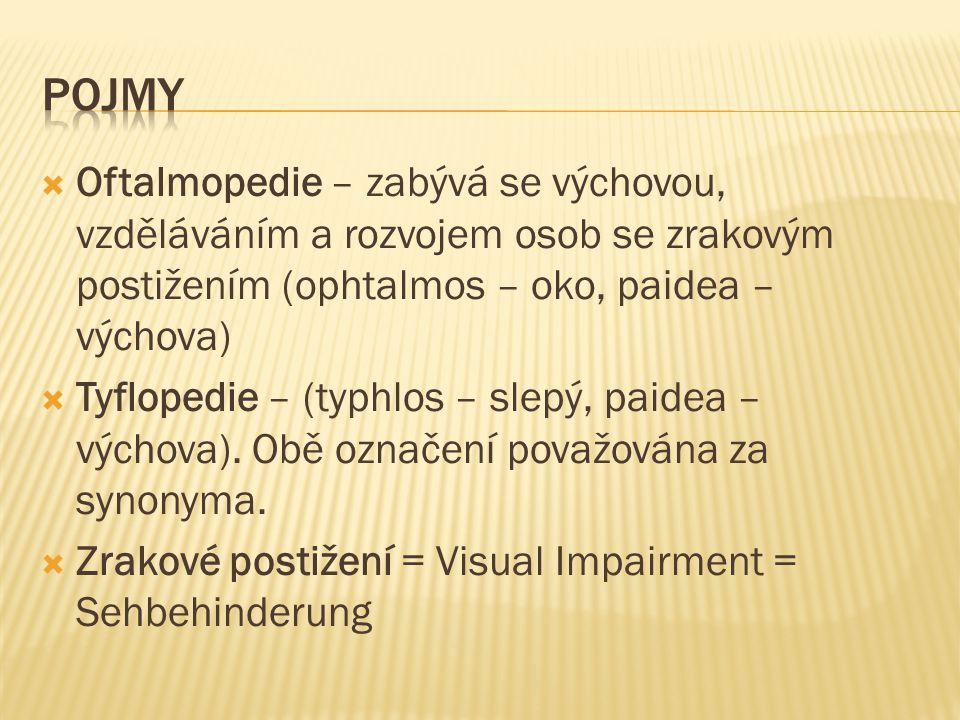 pojmy Oftalmopedie – zabývá se výchovou, vzděláváním a rozvojem osob se zrakovým postižením (ophtalmos – oko, paidea – výchova)
