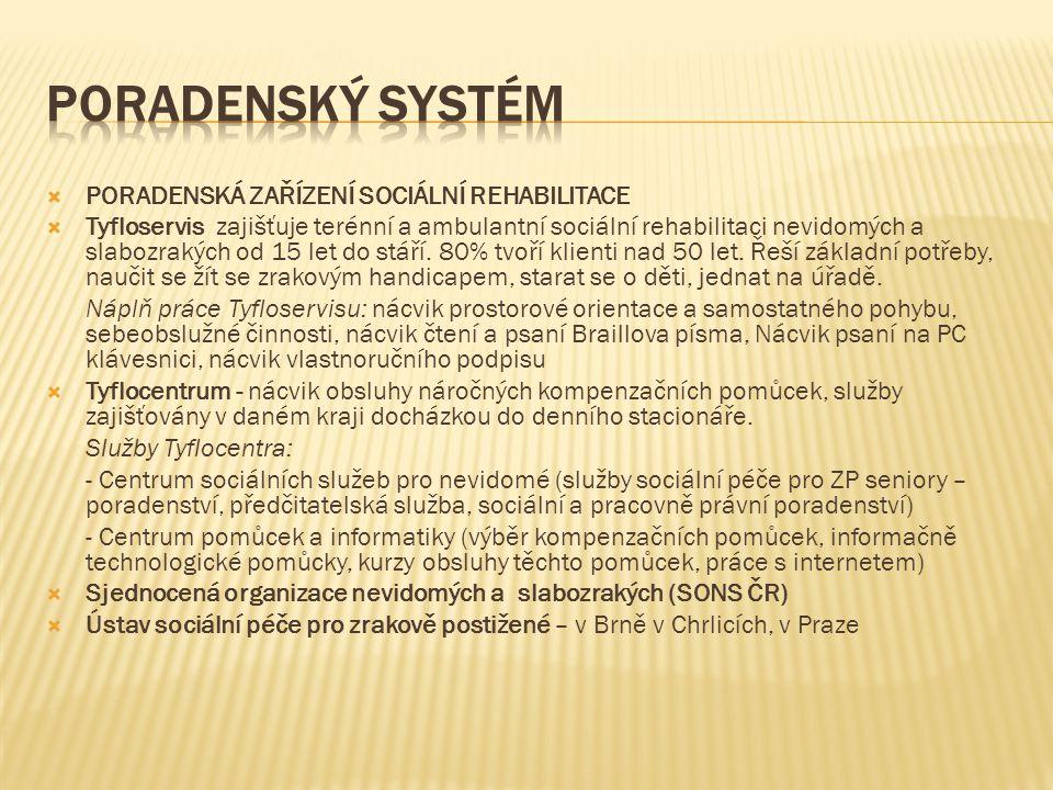 Poradenský systém PORADENSKÁ ZAŘÍZENÍ SOCIÁLNÍ REHABILITACE