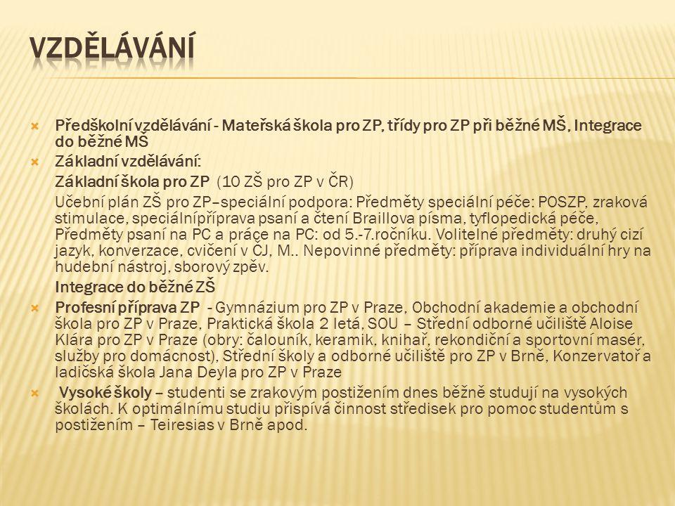 Vzdělávání Předškolní vzdělávání - Mateřská škola pro ZP, třídy pro ZP při běžné MŠ, Integrace do běžné MŠ.