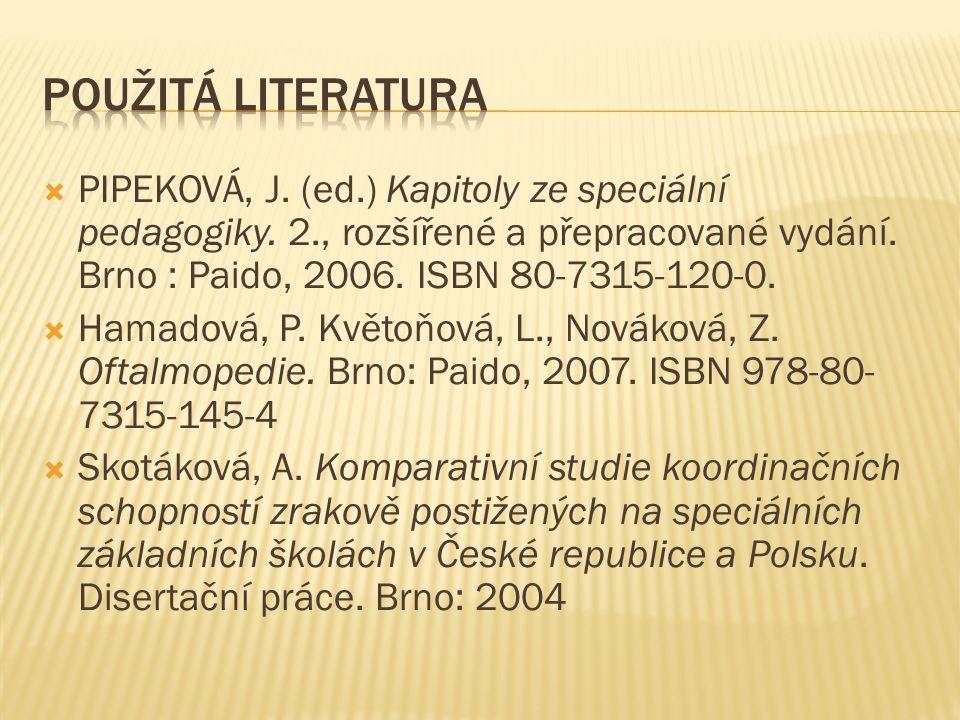 Použitá Literatura PIPEKOVÁ, J. (ed.) Kapitoly ze speciální pedagogiky. 2., rozšířené a přepracované vydání. Brno : Paido, 2006. ISBN 80-7315-120-0.