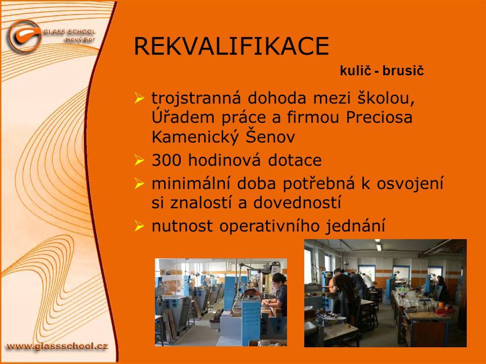 REKVALIFIKACE kulič - brusič. trojstranná dohoda mezi školou, Úřadem práce a firmou Preciosa Kamenický Šenov.