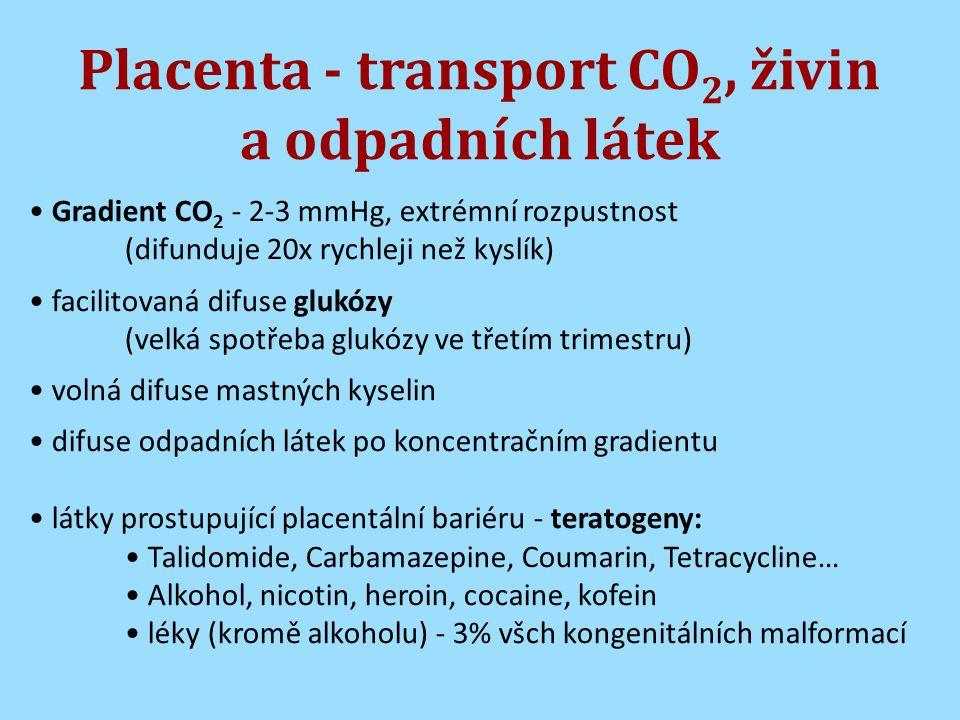 Placenta - transport CO2, živin a odpadních látek