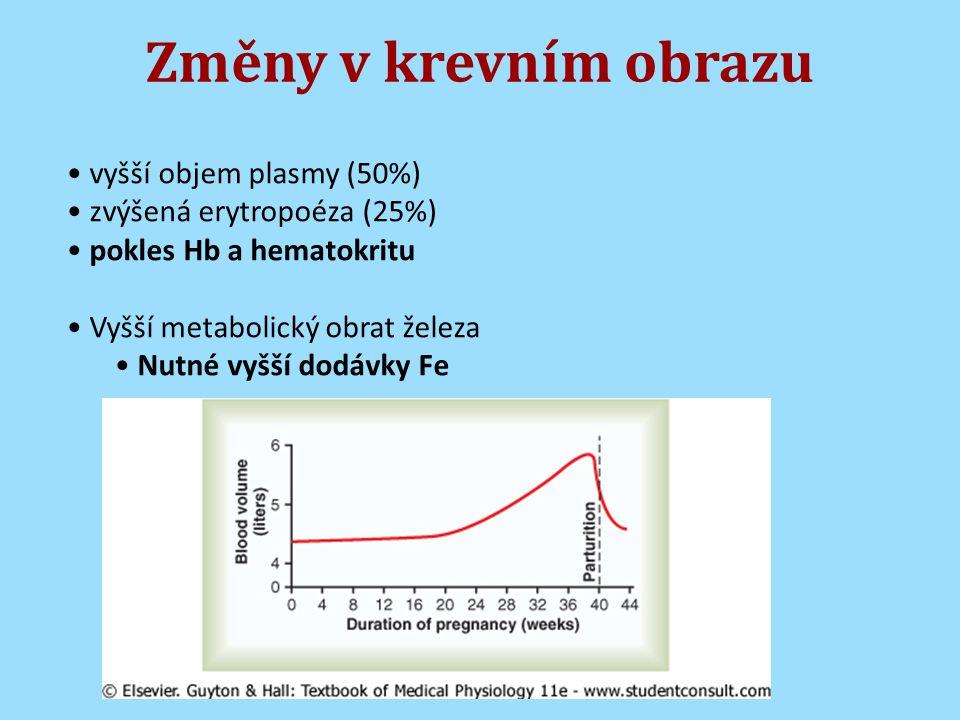 Změny v krevním obrazu vyšší objem plasmy (50%)
