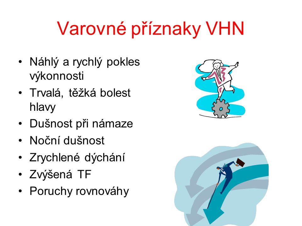 Varovné příznaky VHN Náhlý a rychlý pokles výkonnosti