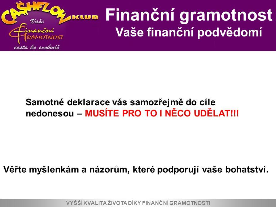 Vaše finanční podvědomí VYŠŠÍ KVALITA ŽIVOTA DÍKY FINANČNÍ GRAMOTNOSTI