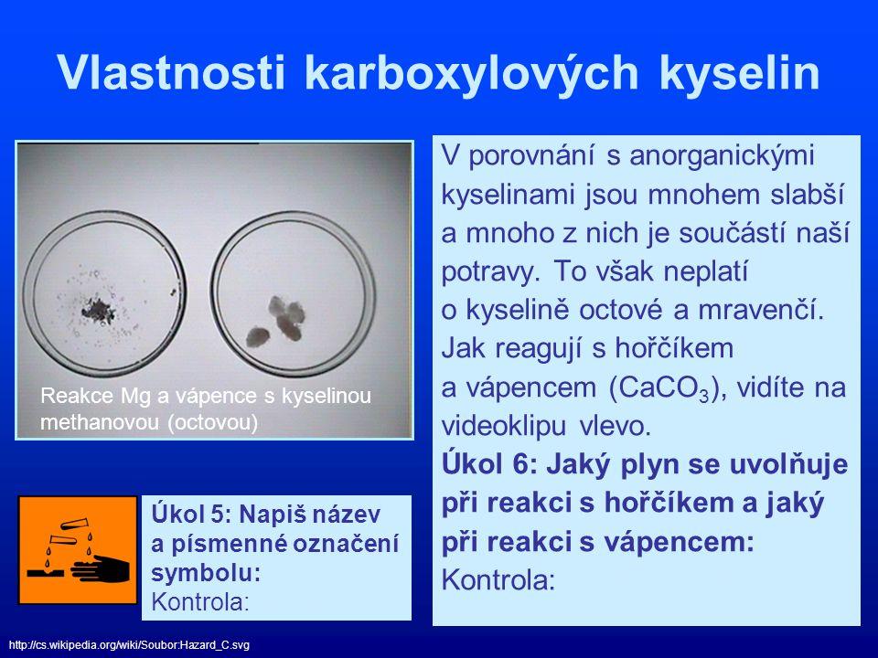 Vlastnosti karboxylových kyselin