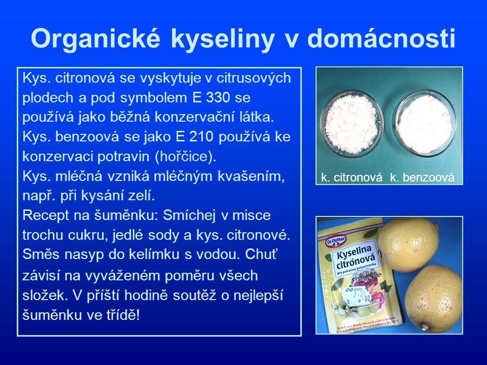 Organické kyseliny v domácnosti