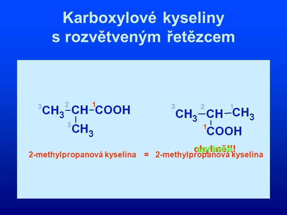 Karboxylové kyseliny s rozvětveným řetězcem